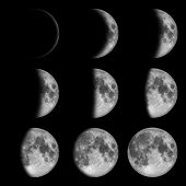 image of lunar eclipse  - 9 phases of the moon - JPG