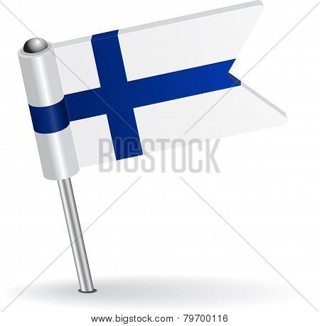 Finnish pin icon flag. Vector illustration