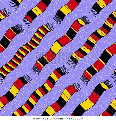 Winter background with Germany Flag Scarves.  Seamless vector pattern.
