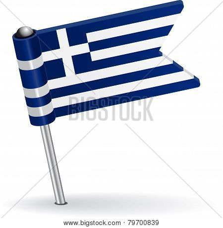 Greece pin icon flag. Vector illustration