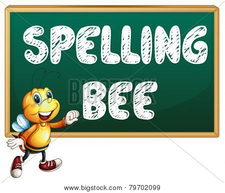Illustration of a bee flying in front of a board