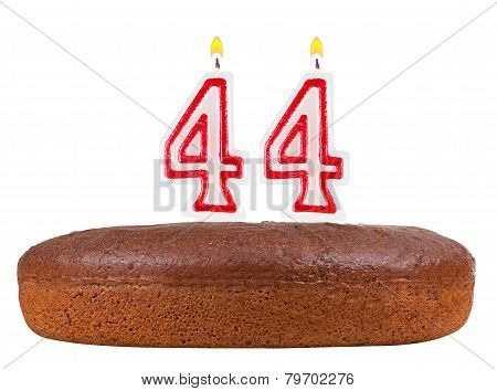Birthday Cake With Candles Number 44 Isolated