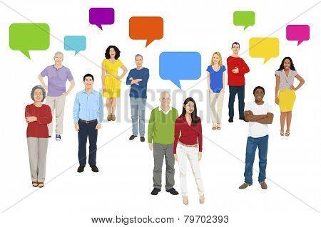 Illustration of Multiethnic People and Speech Bubble Vector