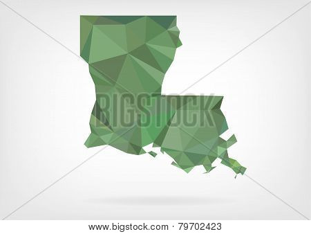 Low Poly map of Louisiana state