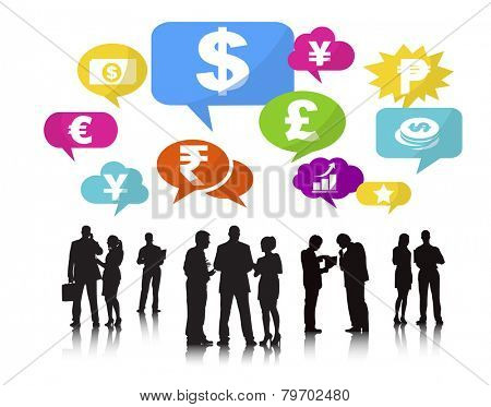 Silhouettes of Business People and Finance Concepts Vector