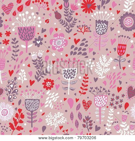 Gentle floral background with cute birds in vector. Seamless pattern can be used for wallpapers, pattern fills, web page backgrounds, surface textures. Gorgeous vector background in pink colors