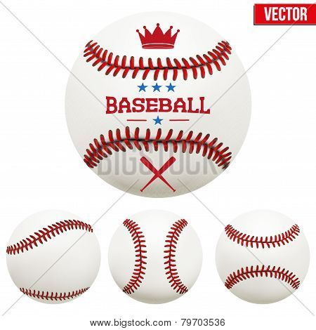 Set of baseball leather balls