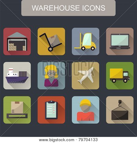 Warehouse Transportation And Delivery Icons Flat Set