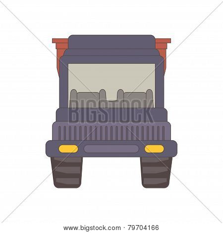 Cartoon Tipper Truck Isolated On White Background