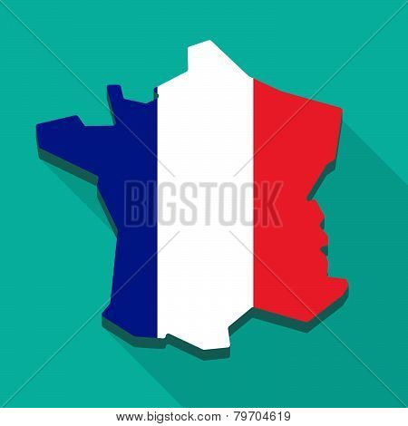 Long Shadow France Flag Map Icon