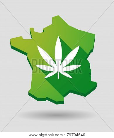 France Green Map Icon With A Marijuana Leaf