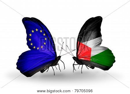 Two Butterflies With Flags On Wings As Symbol Of Relations Eu And Palestine