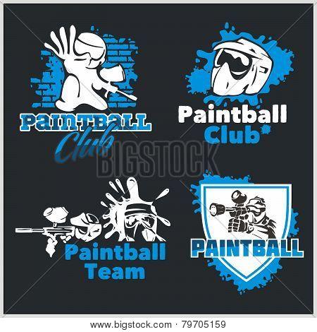 Paintball emblem and logo - vector set