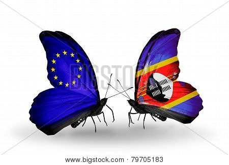Two Butterflies With Flags On Wings As Symbol Of Relations Eu And Swaziland