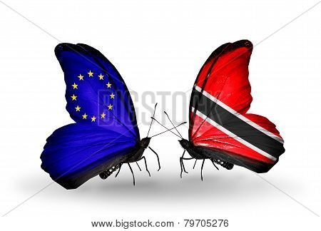 Two Butterflies With Flags On Wings As Symbol Of Relations Eu And Trinidad And Tobago