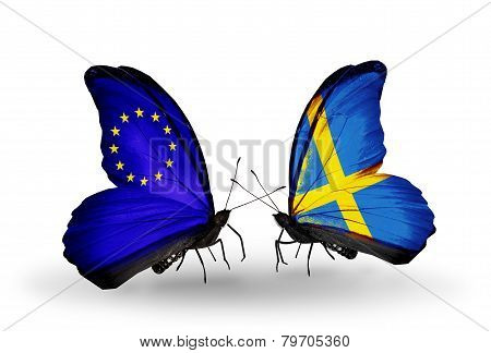 Two Butterflies With Flags On Wings As Symbol Of Relations Eu And Sweden