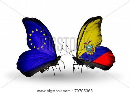 Two Butterflies With Flags On Wings As Symbol Of Relations Eu And Ecuador