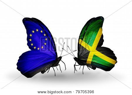 Two Butterflies With Flags On Wings As Symbol Of Relations Eu And Jamaica