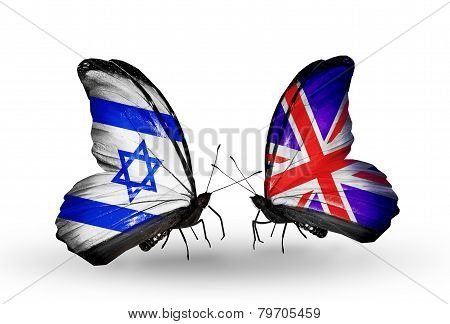 Two Butterflies With Flags On Wings As Symbol Of Relations Israel And  Uk