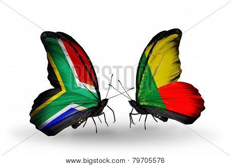 Two Butterflies With Flags On Wings As Symbol Of Relations South Africa And Benin