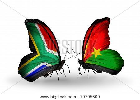 Two Butterflies With Flags On Wings As Symbol Of Relations South Africa And Burkina Faso