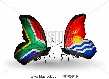 Two Butterflies With Flags On Wings As Symbol Of Relations South Africa And Kiribati
