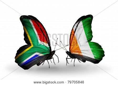 Two Butterflies With Flags On Wings As Symbol Of Relations South Africa And Cote Divoire