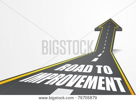 detailed illustration of a highway road going up as an arrow with road to improvement text, eps10 vector