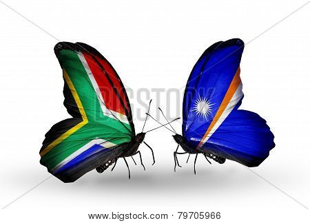Two Butterflies With Flags On Wings As Symbol Of Relations South Africa And Marshall Islands