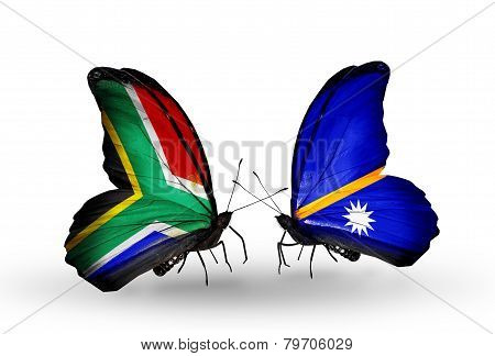 Two Butterflies With Flags On Wings As Symbol Of Relations South Africa And Nauru