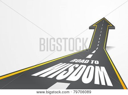 detailed illustration of a highway road going up as an arrow with road to wisdom text, eps10 vector