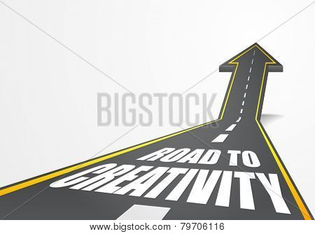 detailed illustration of a highway road going up as an arrow with road to creativity text, eps10 vector