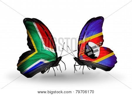 Two Butterflies With Flags On Wings As Symbol Of Relations South Africa And Swaziland