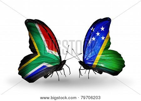 Two Butterflies With Flags On Wings As Symbol Of Relations South Africa And Solomon Islands