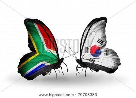 Two Butterflies With Flags On Wings As Symbol Of Relations South Africa And South Korea