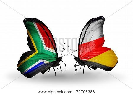 Two Butterflies With Flags On Wings As Symbol Of Relations South Africa And South Ossetia