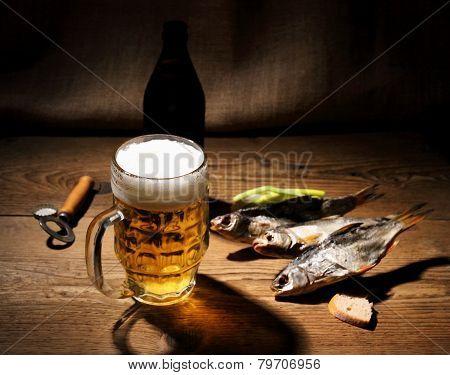 Mug Of Beer And Dried Rudd