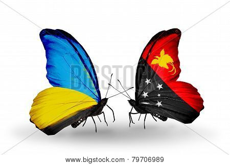 Two Butterflies With Flags On Wings As Symbol Of Relations Ukraine And Papua New Guinea