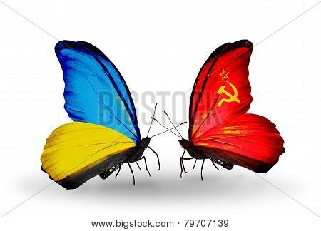 Two Butterflies With Flags On Wings As Symbol Of Relations Ukraine And Soviet Union