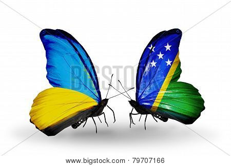 Two Butterflies With Flags On Wings As Symbol Of Relations Ukraine And Solomon Islands
