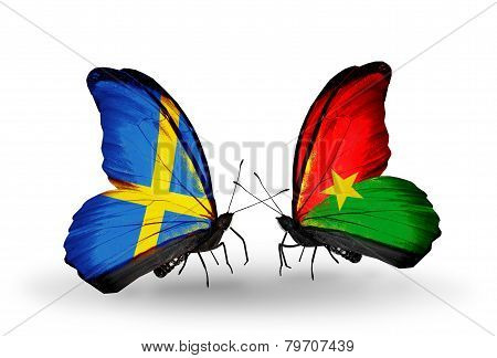 Two Butterflies With Flags On Wings As Symbol Of Relations Sweden And Burkina Faso