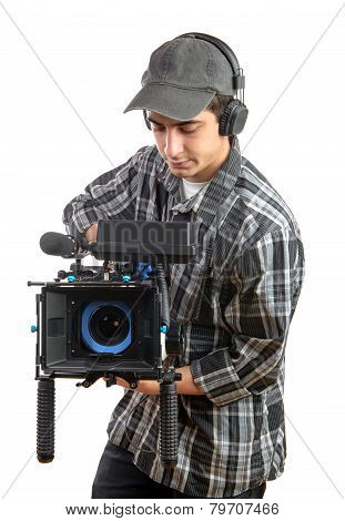 Young Cameraman With Movie Camera