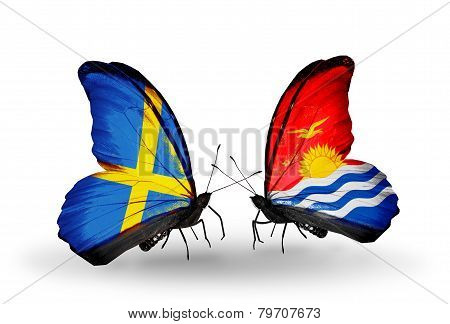 Two Butterflies With Flags On Wings As Symbol Of Relations Sweden And Kiribati