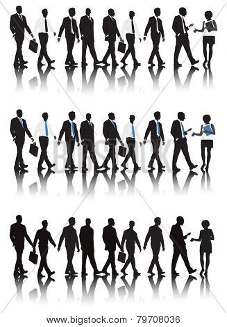Vector of business people walking.