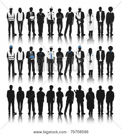 Silhouettes of People with Various Occupations Vector