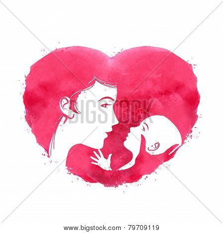 mother and child.  logo, icon, sign, emblem, template