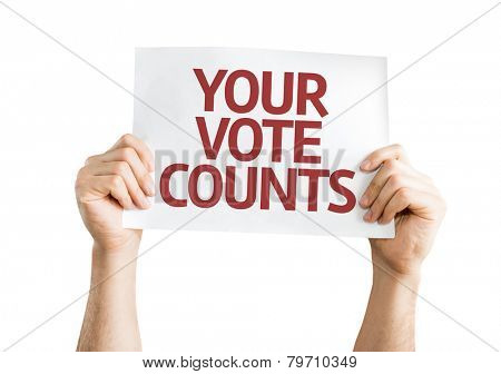 Your Vote Counts card isolated on white background