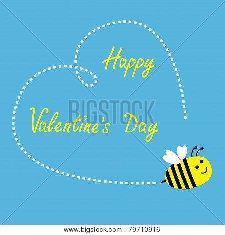 Flying Bee. Big Dash Heart In The Sky. Happy Valentines Day Card