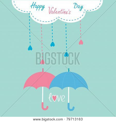 Cloud With Hanging Rain Drops And Two Umbrellas. Happy Valentine