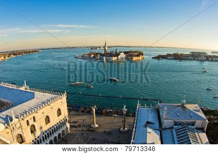 Sunset in Venice, piazza San Marco and San Giorgio church